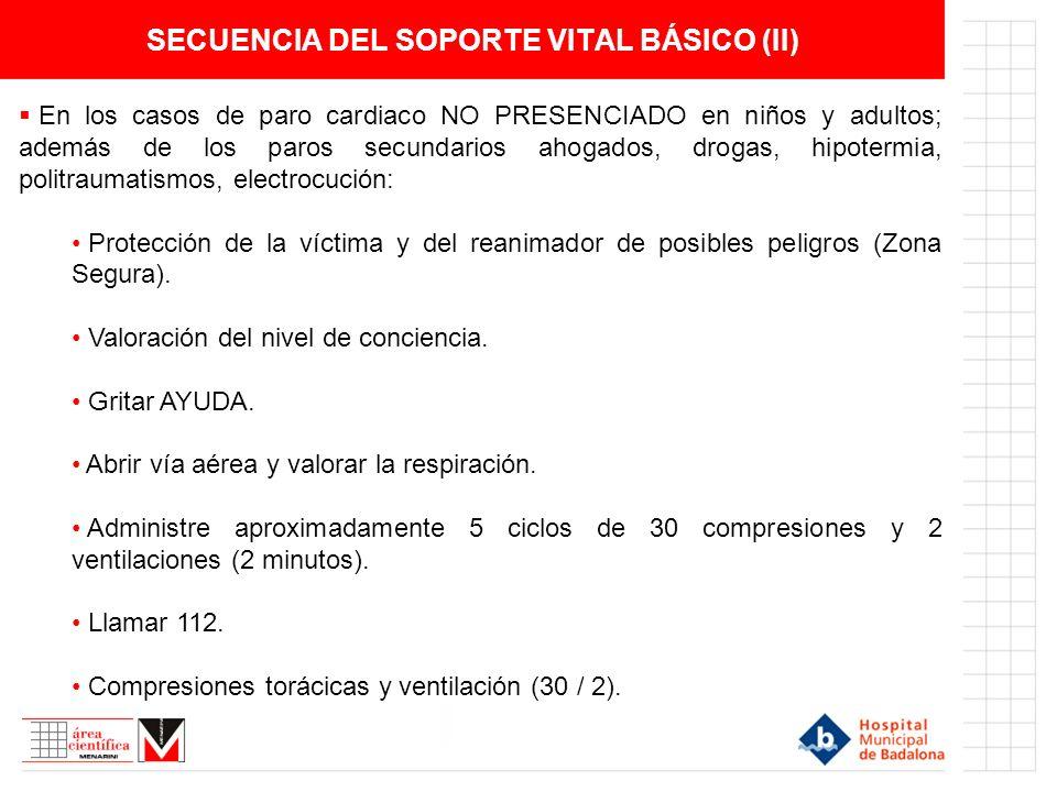 SECUENCIA DEL SOPORTE VITAL BÁSICO (II) En los casos de paro cardiaco NO PRESENCIADO en niños y adultos; además de los paros secundarios ahogados, dro