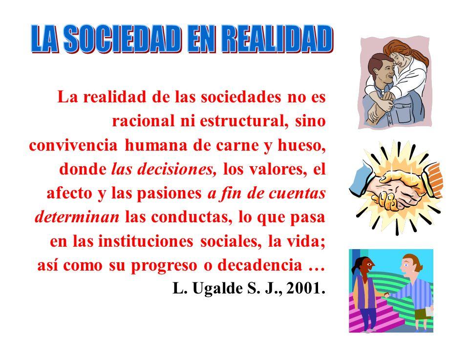 La realidad de las sociedades no es racional ni estructural, sino convivencia humana de carne y hueso, donde las decisiones, los valores, el afecto y