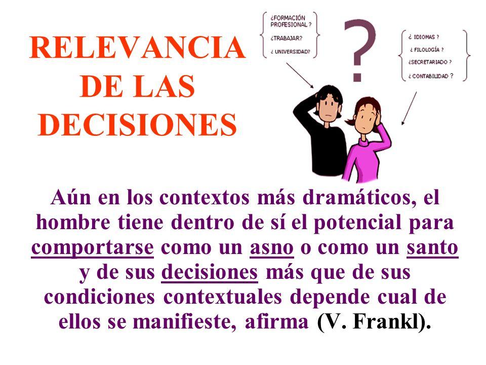 RELEVANCIA DE LAS DECISIONES Aún en los contextos más dramáticos, el hombre tiene dentro de sí el potencial para comportarse como un asno o como un sa