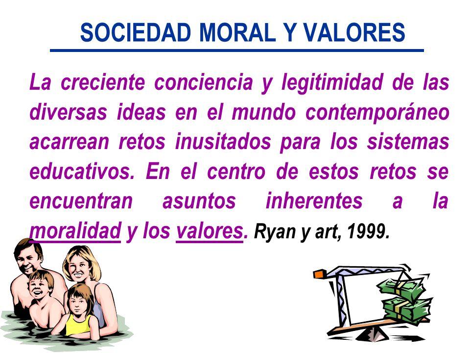 SOCIEDAD MORAL Y VALORES La creciente conciencia y legitimidad de las diversas ideas en el mundo contemporáneo acarrean retos inusitados para los sist