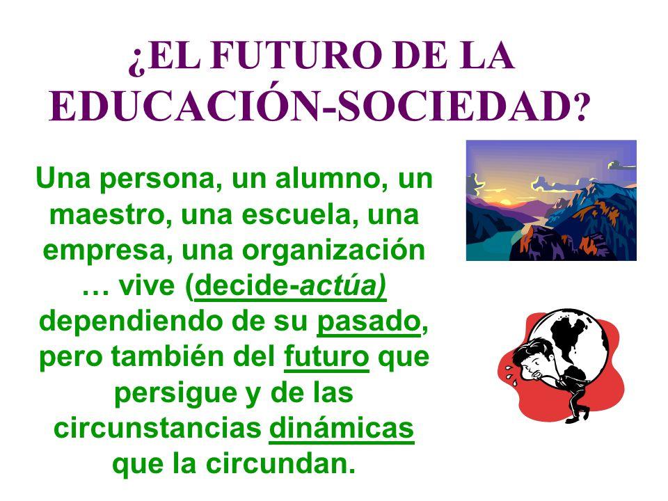 ¿EL FUTURO DE LA EDUCACIÓN-SOCIEDAD ? Una persona, un alumno, un maestro, una escuela, una empresa, una organización … vive (decide-actúa) dependiendo