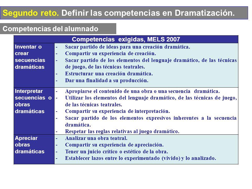 Competencias del alumnado Competencias exigidas, MELS 2007 Inventar o crear secuencias dramáticas -Sacar partido de ideas para una creación dramática.