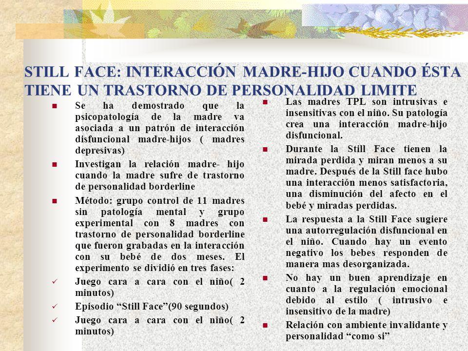 STILL FACE: INTERACCIÓN MADRE-HIJO CUANDO ÉSTA TIENE UN TRASTORNO DE PERSONALIDAD LIMITE Se ha demostrado que la psicopatología de la madre va asociad