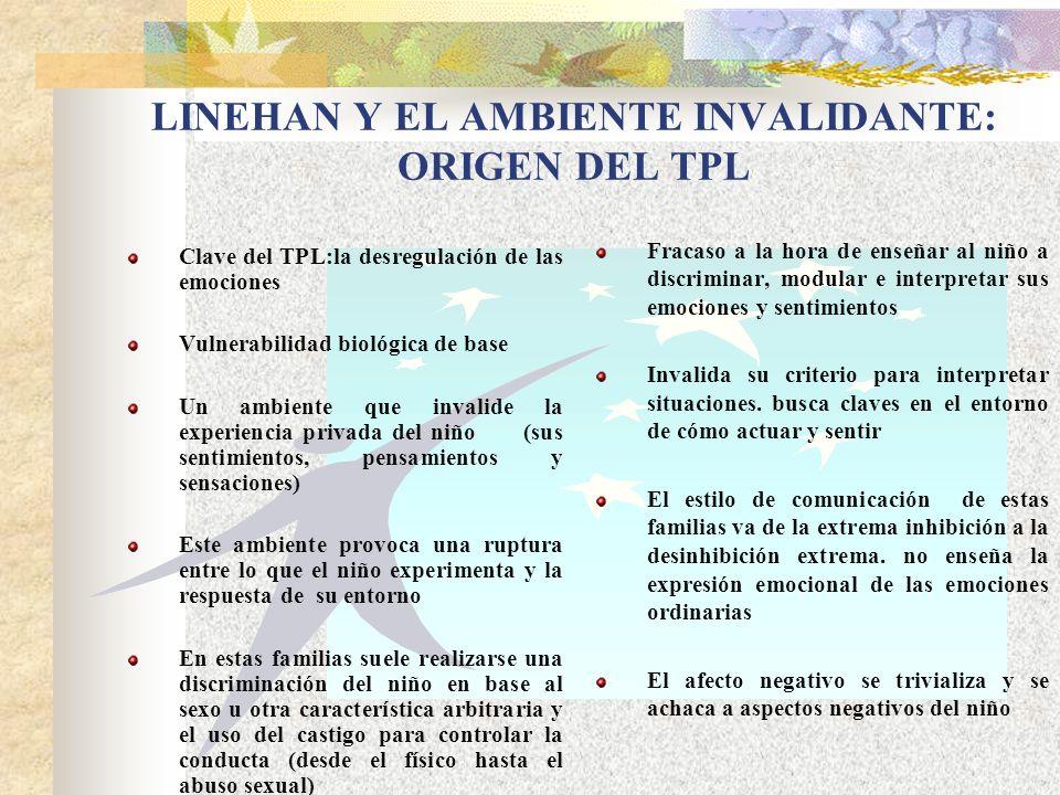 LINEHAN Y EL AMBIENTE INVALIDANTE: ORIGEN DEL TPL Clave del TPL:la desregulación de las emociones Vulnerabilidad biológica de base Un ambiente que inv