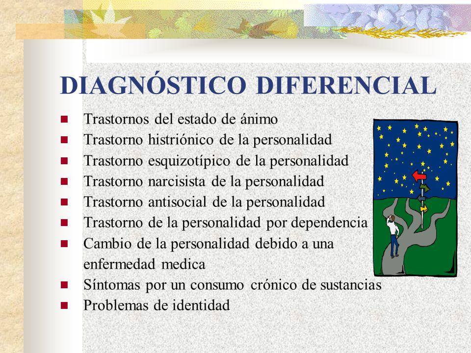 DIAGNÓSTICO DIFERENCIAL Trastornos del estado de ánimo Trastorno histriónico de la personalidad Trastorno esquizotípico de la personalidad Trastorno narcisista de la personalidad Trastorno antisocial de la personalidad Trastorno de la personalidad por dependencia Cambio de la personalidad debido a una enfermedad medica Síntomas por un consumo crónico de sustancias Problemas de identidad