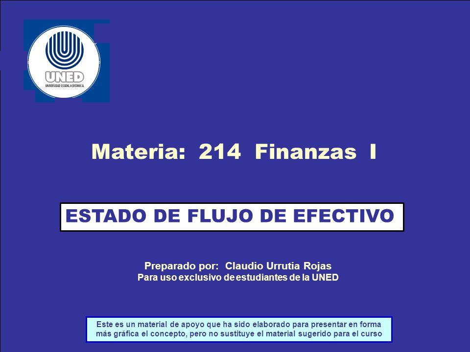 Preparado por: Claudio Urrutia Rojas Para uso exclusivo de estudiantes de la UNED Materia: 214 Finanzas I Este es un material de apoyo que ha sido ela