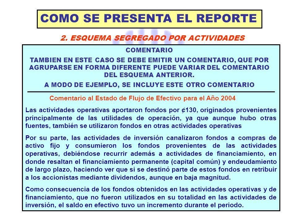 COMO SE PRESENTA EL REPORTE 2. ESQUEMA SEGREGADO POR ACTIVIDADES COMENTARIO TAMBIEN EN ESTE CASO SE DEBE EMITIR UN COMENTARIO, QUE POR AGRUPARSE EN FO