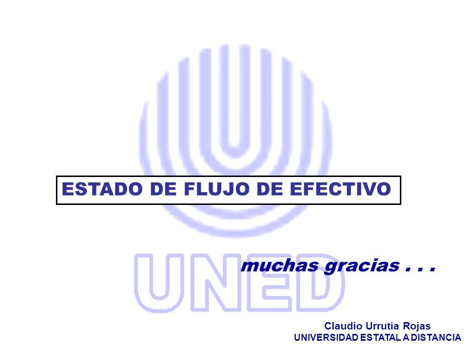 muchas gracias... Claudio Urrutia Rojas UNIVERSIDAD ESTATAL A DISTANCIA ESTADO DE FLUJO DE EFECTIVO