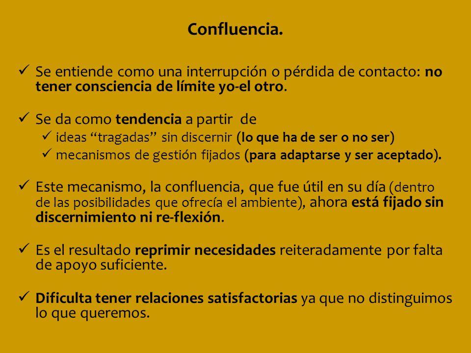 Confluencia. Se entiende como una interrupción o pérdida de contacto: no tener consciencia de límite yo-el otro. Se da como tendencia a partir de idea