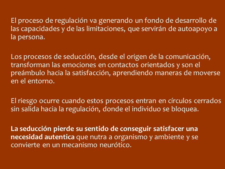 El proceso de regulación va generando un fondo de desarrollo de las capacidades y de las limitaciones, que servirán de autoapoyo a la persona. Los pro