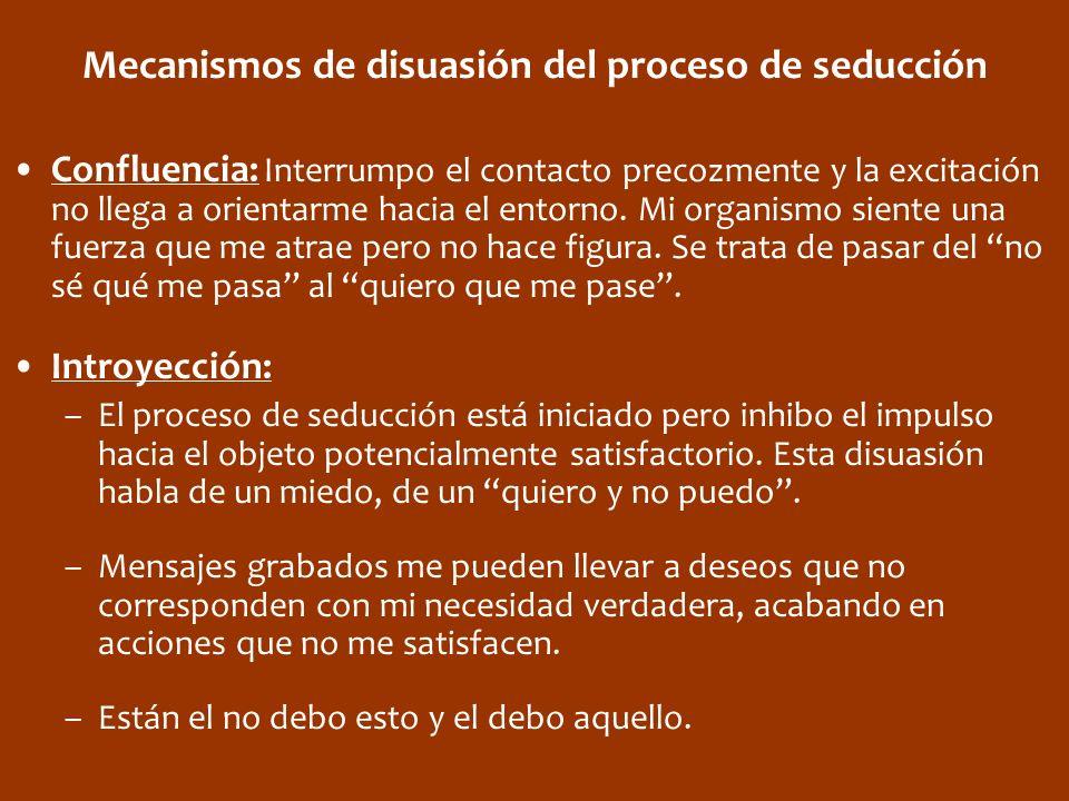 Mecanismos de disuasión del proceso de seducción Confluencia: Interrumpo el contacto precozmente y la excitación no llega a orientarme hacia el entorn