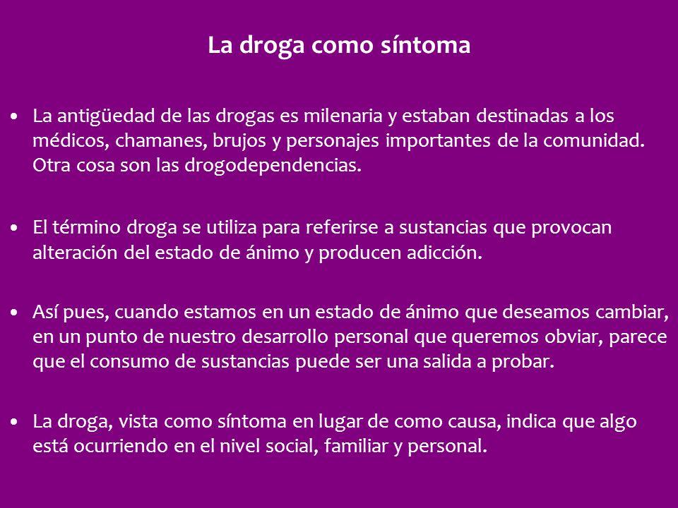 La droga como síntoma La antigüedad de las drogas es milenaria y estaban destinadas a los médicos, chamanes, brujos y personajes importantes de la com