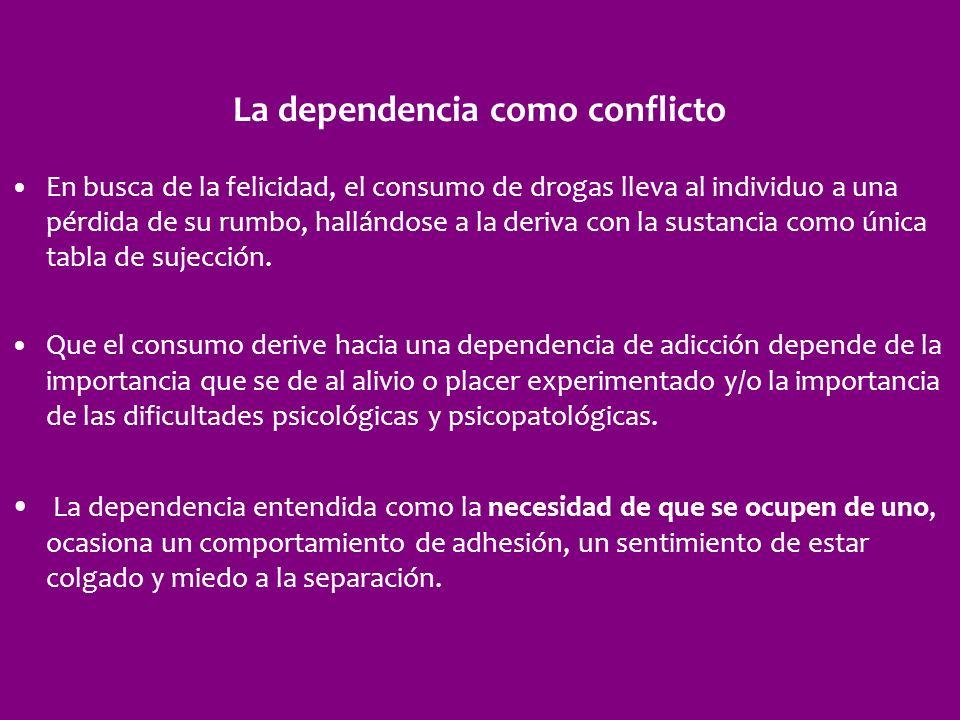 La dependencia como conflicto En busca de la felicidad, el consumo de drogas lleva al individuo a una pérdida de su rumbo, hallándose a la deriva con