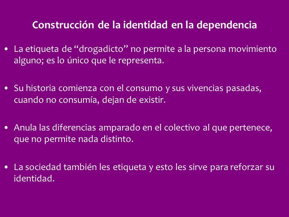 Construcción de la identidad en la dependencia La etiqueta de drogadicto no permite a la persona movimiento alguno; es lo único que le representa. Su