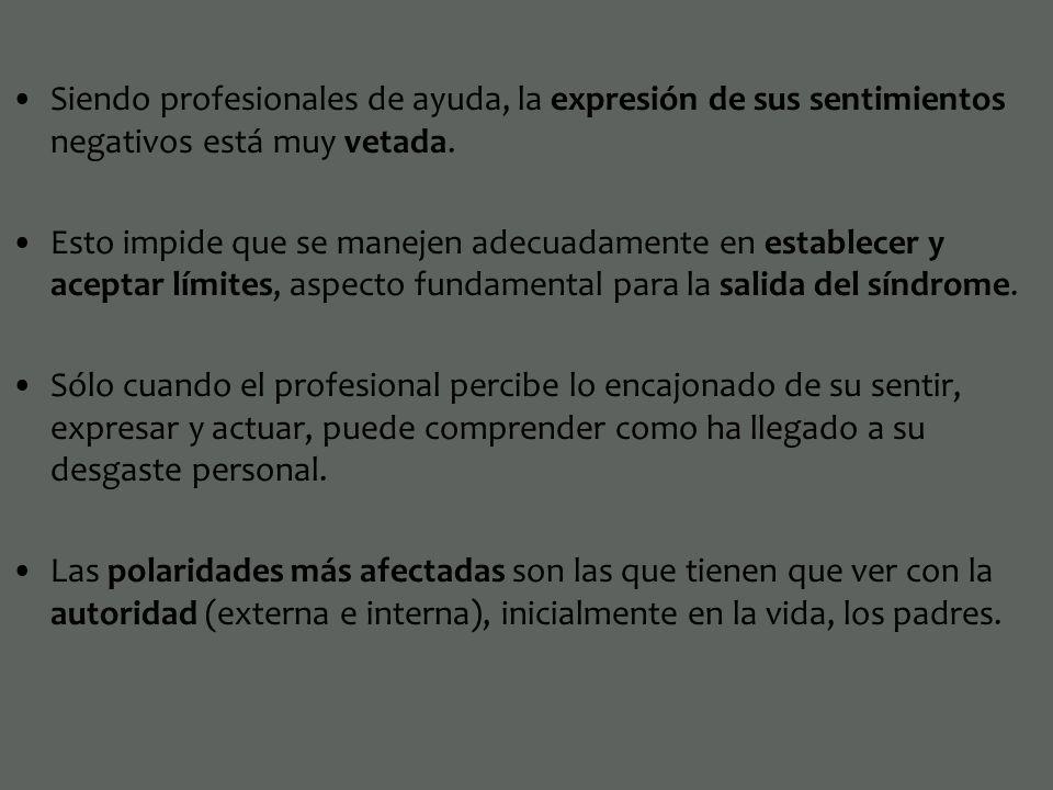 Siendo profesionales de ayuda, la expresión de sus sentimientos negativos está muy vetada. Esto impide que se manejen adecuadamente en establecer y ac