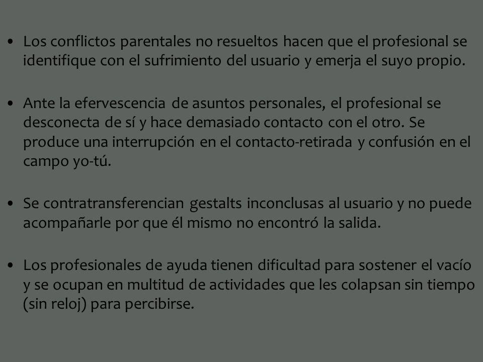 Los conflictos parentales no resueltos hacen que el profesional se identifique con el sufrimiento del usuario y emerja el suyo propio. Ante la eferves