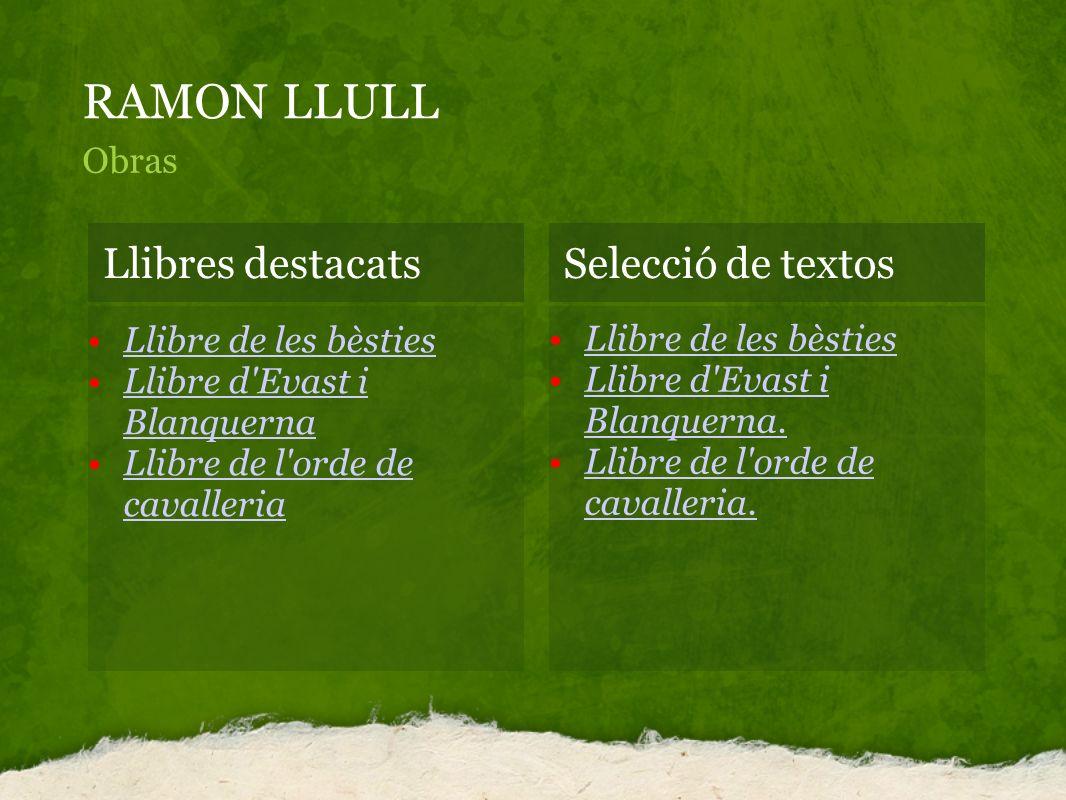 RAMON LLULL Obras Llibres destacatsSelecció de textos Llibre de les bèsties Llibre d'Evast i BlanquernaLlibre d'Evast i Blanquerna Llibre de l'orde de