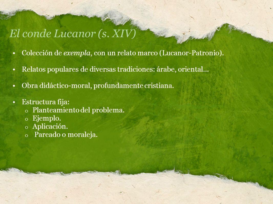 El conde Lucanor (s. XIV) Colección de exempla, con un relato marco (Lucanor-Patronio). Relatos populares de diversas tradiciones: árabe, oriental… Ob