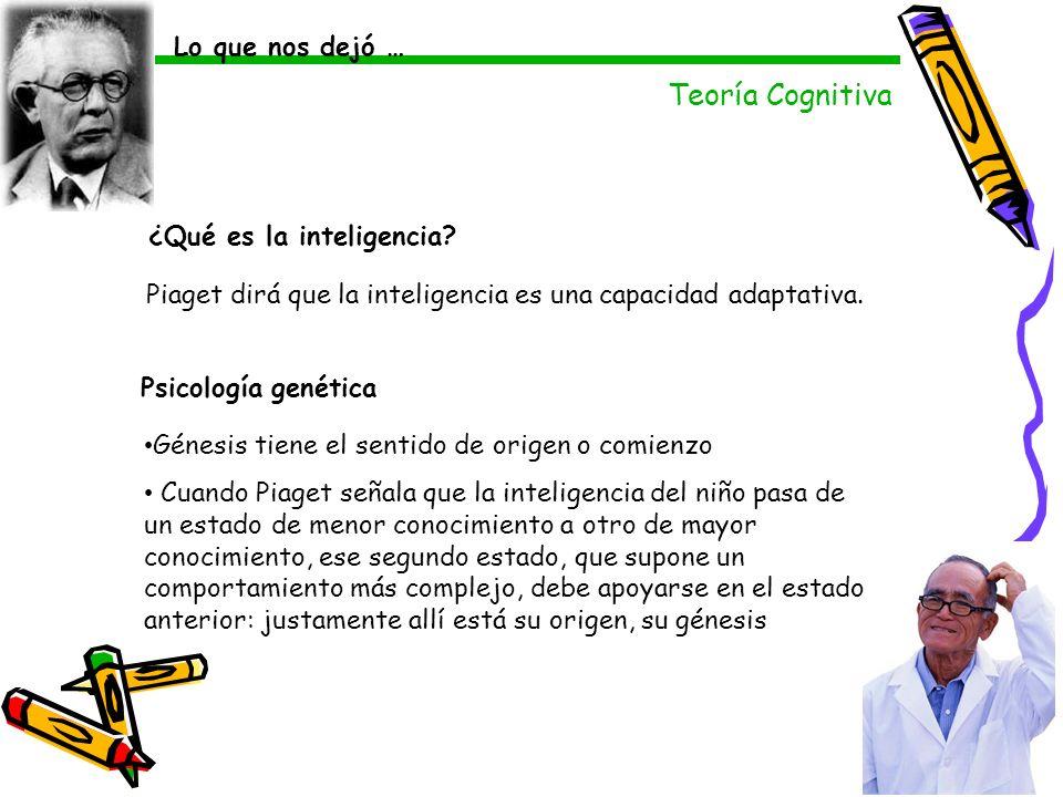 Teoría Cognitiva Lo que nos dejó … Psicología genética Génesis tiene el sentido de origen o comienzo Cuando Piaget señala que la inteligencia del niño