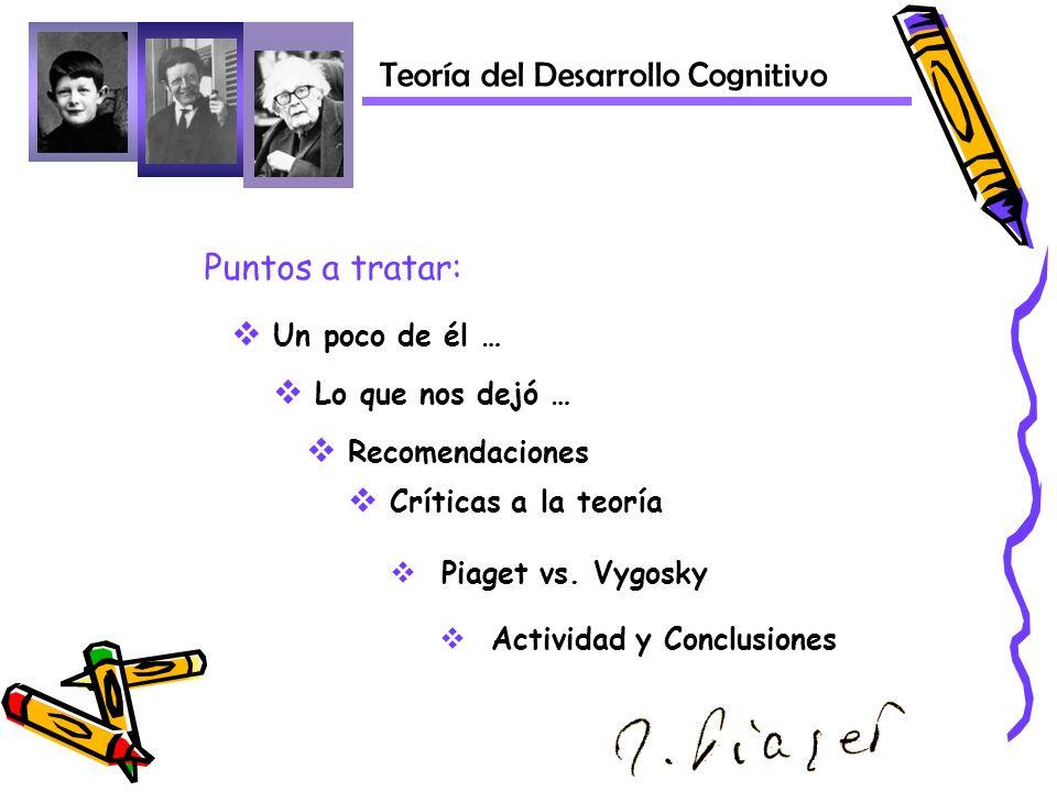 Un poco de él … Lo que nos dejó … Críticas a la teoría Piaget vs. Vygosky Teoría del Desarrollo Cognitivo Puntos a tratar: Actividad y Conclusiones Re