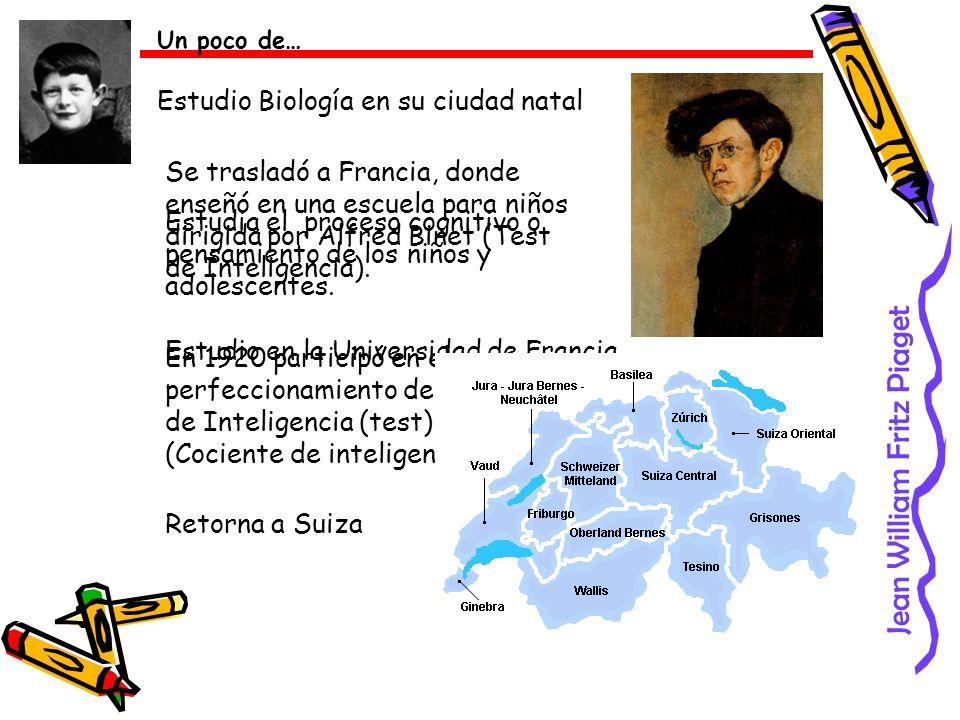 Jean William Fritz Piaget Un poco de… Estudio Biología en su ciudad natal Se trasladó a Francia, donde enseñó en una escuela para niños dirigida por A