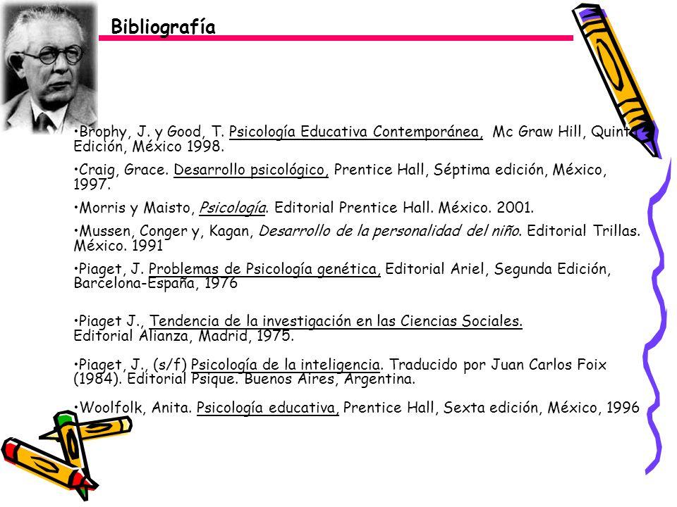 Bibliografía Brophy, J. y Good, T. Psicología Educativa Contemporánea, Mc Graw Hill, Quinta Edición, México 1998. Craig, Grace. Desarrollo psicológico