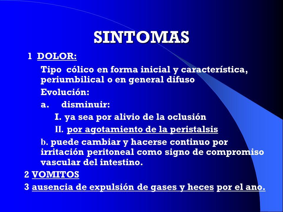 SINTOMAS 1 DOLOR: Tipo cólico en forma inicial y característica, periumbilical o en general difuso Evolución: a. disminuir: I. ya sea por alivio de la