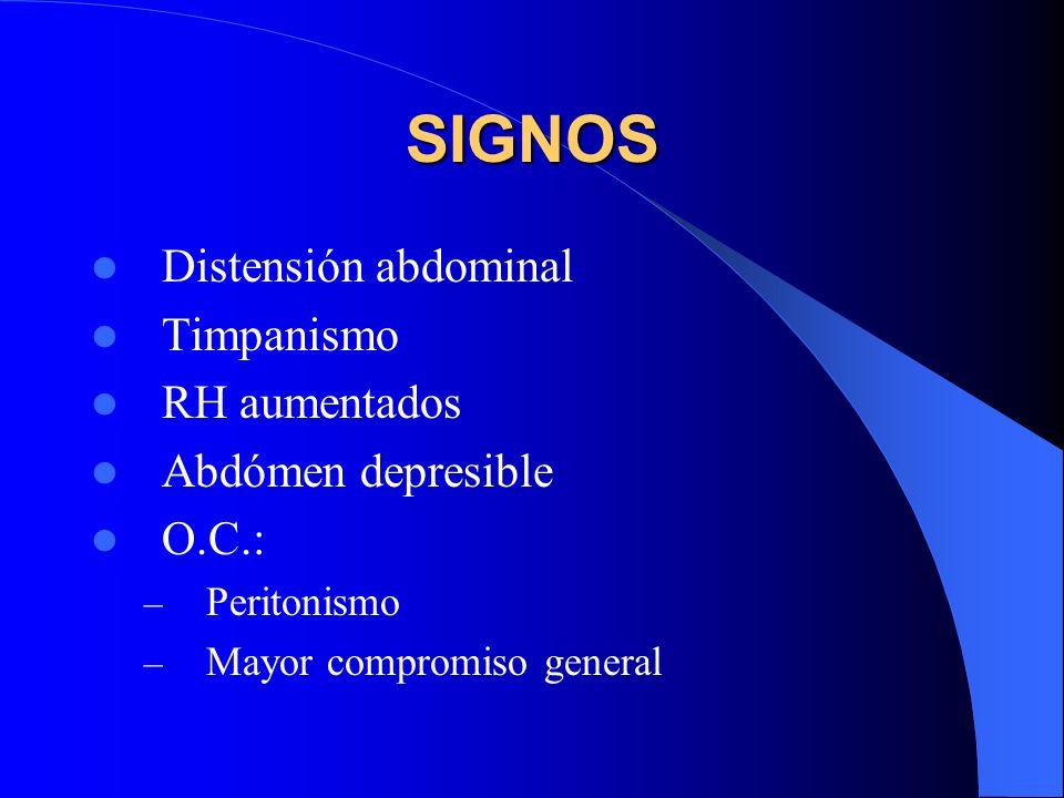 SIGNOS Distensión abdominal Timpanismo RH aumentados Abdómen depresible O.C.: – Peritonismo – Mayor compromiso general