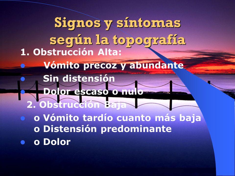 Signos y síntomas según la topografía 1. Obstrucción Alta: Vómito precoz y abundante Sin distensión Dolor escaso o nulo 2. Obstrucción Baja o Vómito t