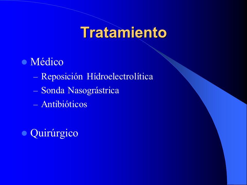 Tratamiento Médico – Reposición Hídroelectrolítica – Sonda Nasográstrica – Antibióticos Quirúrgico