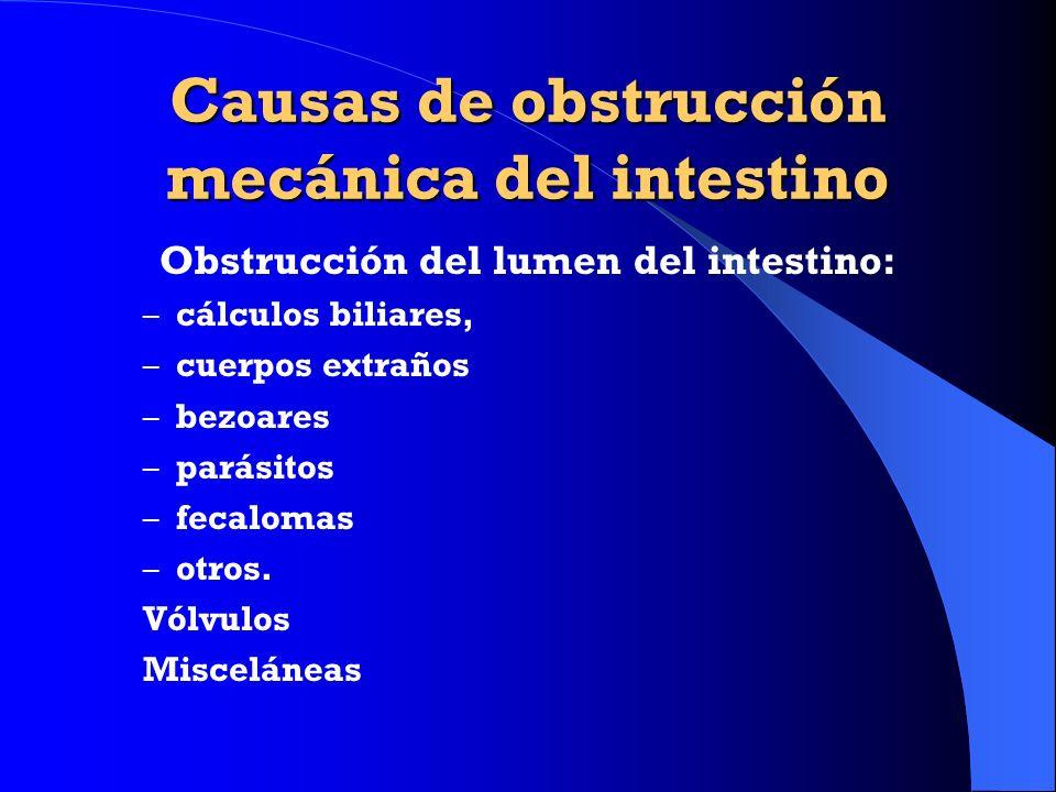 Causas de obstrucción mecánica del intestino Obstrucción del lumen del intestino: – cálculos biliares, – cuerpos extraños – bezoares – parásitos – fec