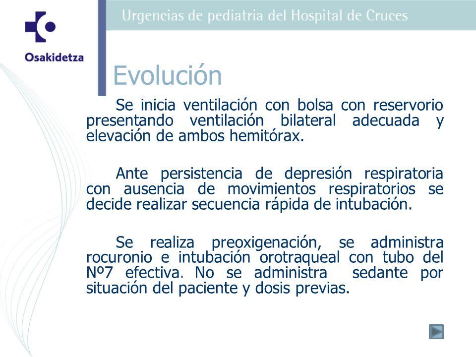 Se inicia ventilación con bolsa con reservorio presentando ventilación bilateral adecuada y elevación de ambos hemitórax.