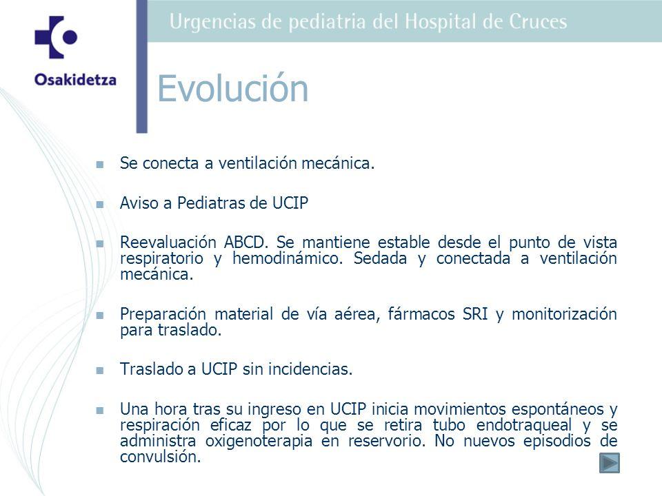 Se conecta a ventilación mecánica.Aviso a Pediatras de UCIP Reevaluación ABCD.