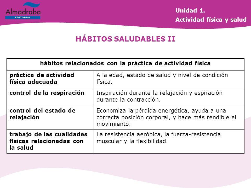 HÁBITOS SALUDABLES II hábitos relacionados con la práctica de actividad física práctica de actividad física adecuada A la edad, estado de salud y nive