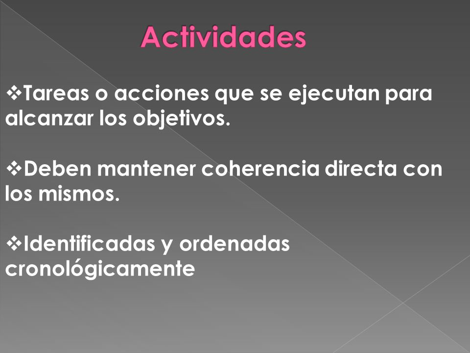 Tareas o acciones que se ejecutan para alcanzar los objetivos.