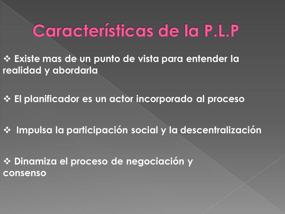 Existe mas de un punto de vista para entender la realidad y abordarla El planificador es un actor incorporado al proceso Impulsa la participación social y la descentralización Dinamiza el proceso de negociación y consenso
