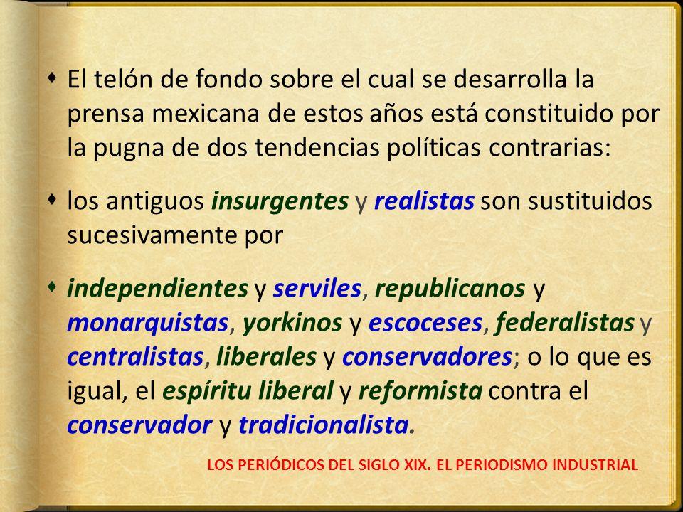 LOS PERIÓDICOS DEL SIGLO XIX. EL PERIODISMO INDUSTRIAL El telón de fondo sobre el cual se desarrolla la prensa mexicana de estos años está constituido