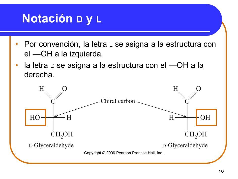 10 Notación D y L Por convención, la letra L se asigna a la estructura con el OH a la izquierda. la letra D se asigna a la estructura con el OH a la d