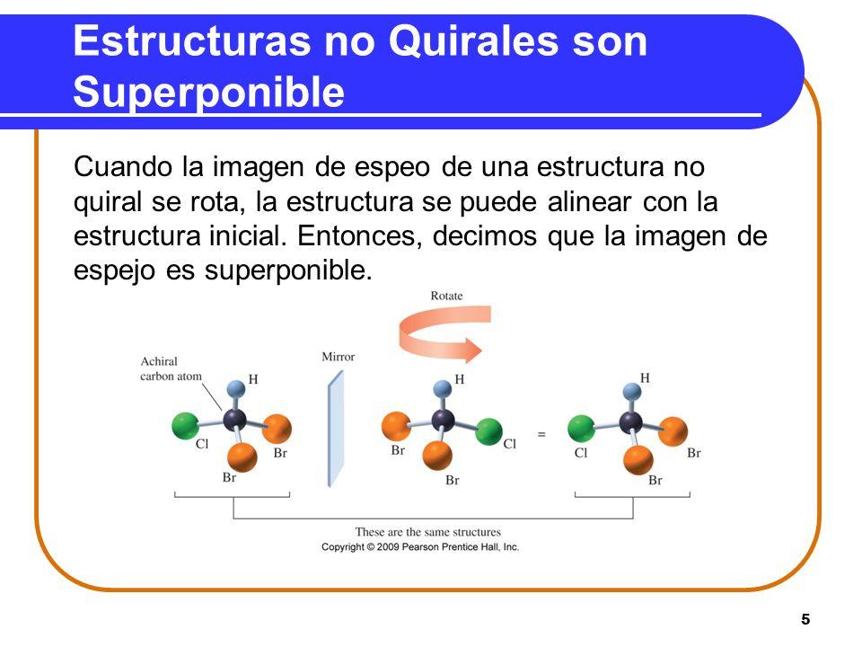 5 Estructuras no Quirales son Superponible Cuando la imagen de espeo de una estructura no quiral se rota, la estructura se puede alinear con la estruc