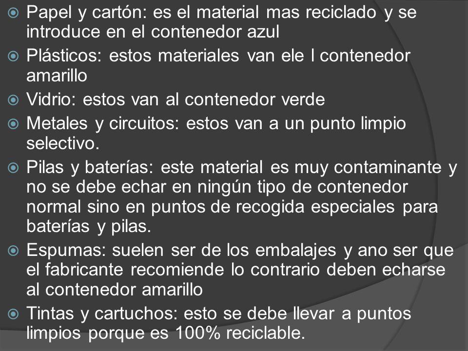 Papel y cartón: es el material mas reciclado y se introduce en el contenedor azul Plásticos: estos materiales van ele l contenedor amarillo Vidrio: es