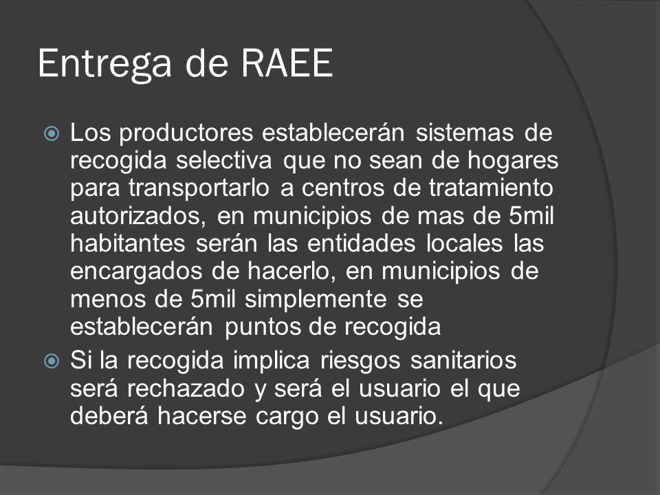 Entrega de RAEE Los productores establecerán sistemas de recogida selectiva que no sean de hogares para transportarlo a centros de tratamiento autoriz