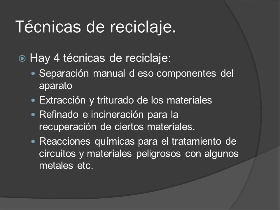 Técnicas de reciclaje. Hay 4 técnicas de reciclaje: Separación manual d eso componentes del aparato Extracción y triturado de los materiales Refinado