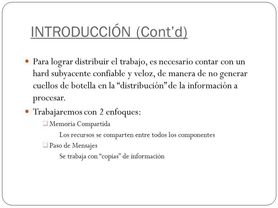 INTRODUCCIÓN (Contd) Para lograr distribuir el trabajo, es necesario contar con un hard subyacente confiable y veloz, de manera de no generar cuellos