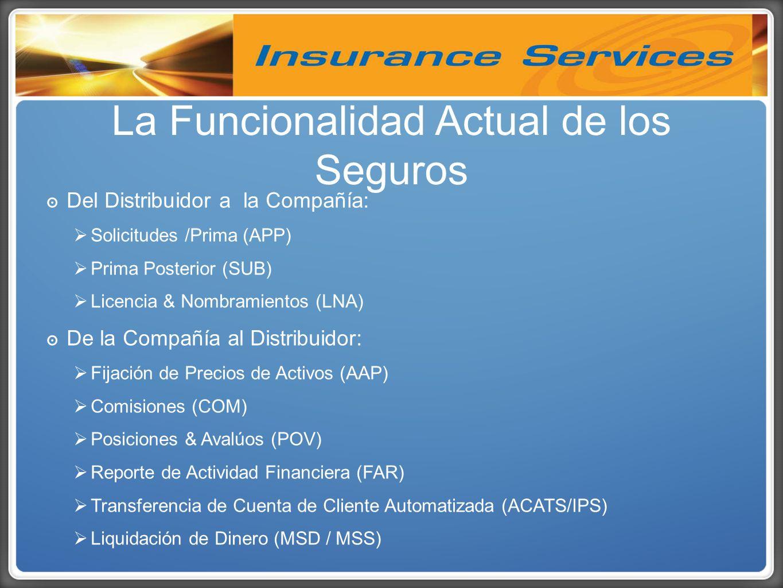 Del Distribuidor a la Compañía: Solicitudes /Prima (APP) Prima Posterior (SUB) Licencia & Nombramientos (LNA) De la Compañía al Distribuidor: Fijación de Precios de Activos (AAP) Comisiones (COM) Posiciones & Avalúos (POV) Reporte de Actividad Financiera (FAR) Transferencia de Cuenta de Cliente Automatizada (ACATS/IPS) Liquidación de Dinero (MSD / MSS) La Funcionalidad Actual de los Seguros