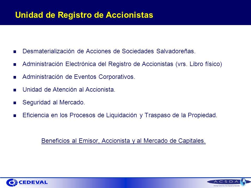 Unidad de Registro de Accionistas Desmaterialización de Acciones de Sociedades Salvadoreñas.