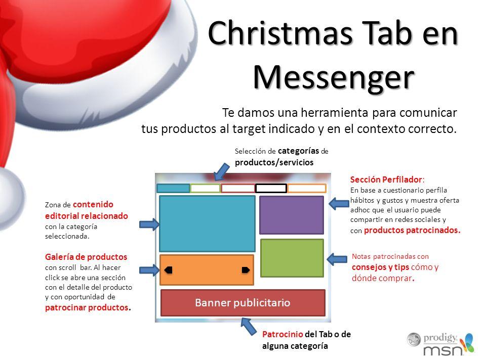 Christmas Tab en Messenger Selección de categorías de productos/servicios Zona de contenido editorial relacionado con la categoría seleccionada.