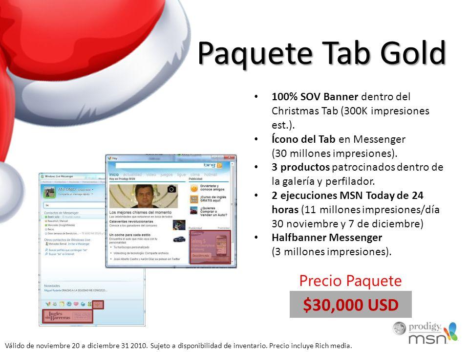 Paquete Tab Gold 100% SOV Banner dentro del Christmas Tab (300K impresiones est.). Ícono del Tab en Messenger (30 millones impresiones). 3 productos p