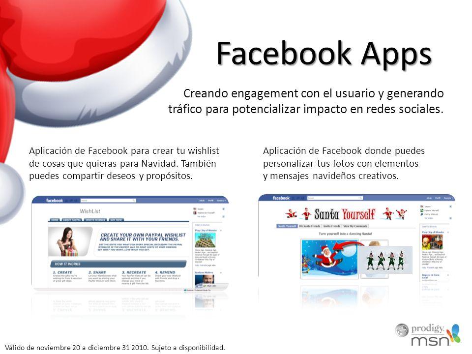 Facebook Apps Aplicación de Facebook para crear tu wishlist de cosas que quieras para Navidad.