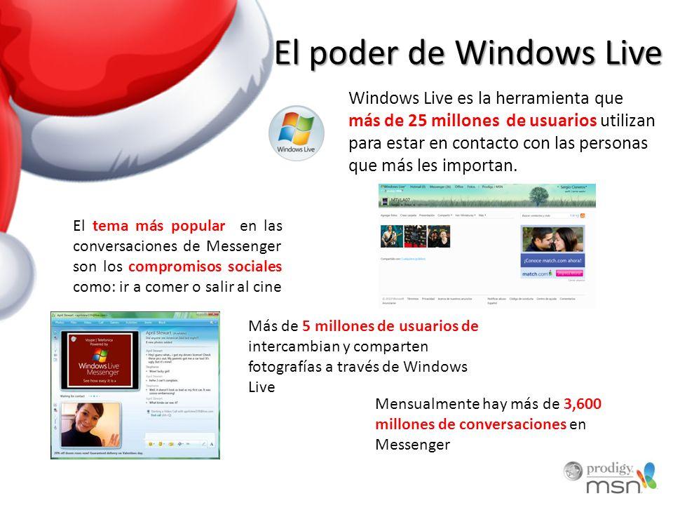 El poder de Windows Live Windows Live es la herramienta que más de 25 millones de usuarios utilizan para estar en contacto con las personas que más les importan.