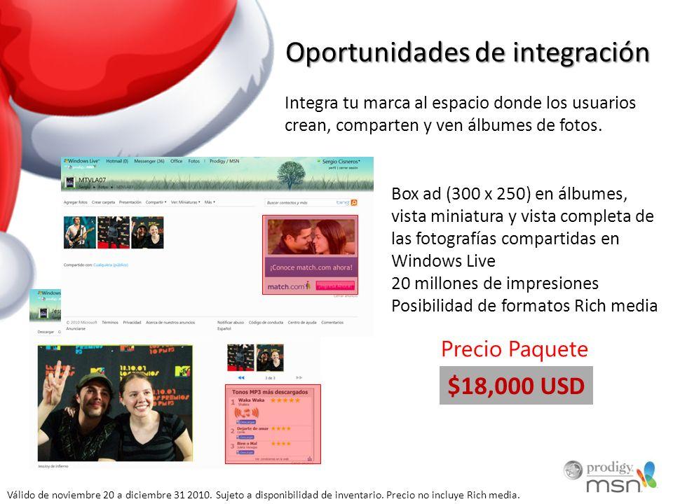 Oportunidades de integración Integra tu marca al espacio donde los usuarios crean, comparten y ven álbumes de fotos. Box ad (300 x 250) en álbumes, vi